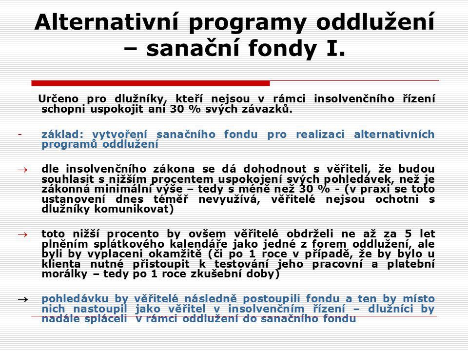 Alternativní programy oddlužení – sanační fondy I.