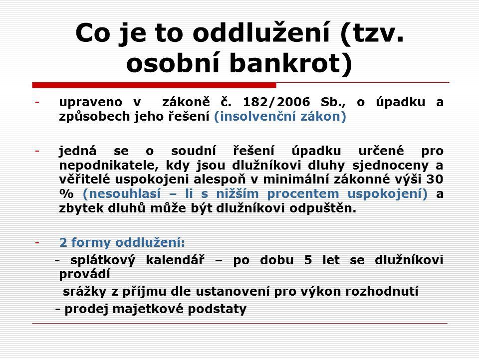 Co je to oddlužení (tzv. osobní bankrot) -upraveno v zákoně č.