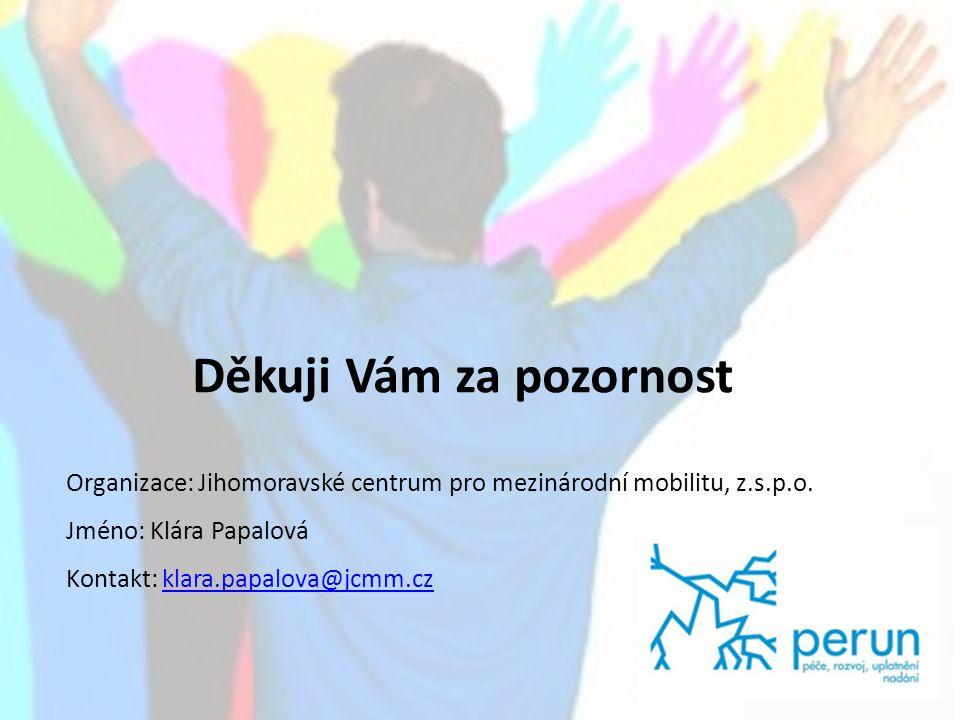 7 Děkuji Vám za pozornost Organizace: Jihomoravské centrum pro mezinárodní mobilitu, z.s.p.o.
