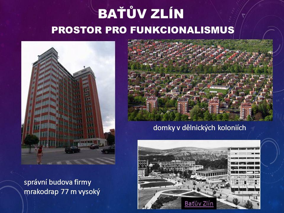 BAŤŮV ZLÍN PROSTOR PRO FUNKCIONALISMUS správní budova firmy mrakodrap 77 m vysoký domky v dělnických koloniích Baťův Zlín
