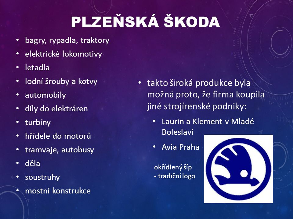 takto široká produkce byla možná proto, že firma koupila jiné strojírenské podniky: Laurin a Klement v Mladé Boleslavi Avia Praha bagry, rypadla, traktory elektrické lokomotivy letadla lodní šrouby a kotvy automobily díly do elektráren turbíny hřídele do motorů tramvaje, autobusy děla soustruhy mostní konstrukce okřídlený šíp - tradiční logo