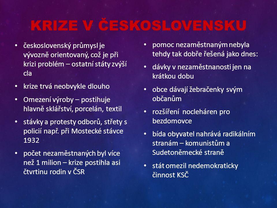 KRIZE V ČESKOSLOVENSKU československý průmysl je vývozně orientovaný, což je při krizi problém – ostatní státy zvýší cla krize trvá neobvykle dlouho O
