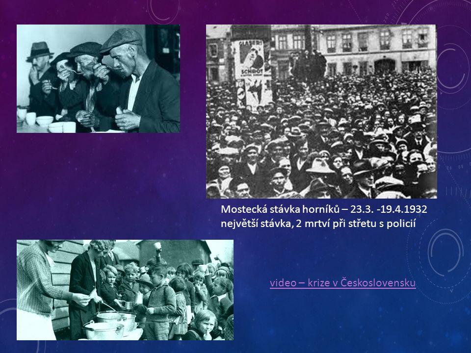 Mostecká stávka horníků – 23.3. -19.4.1932 největší stávka, 2 mrtví při střetu s policií video – krize v Československu