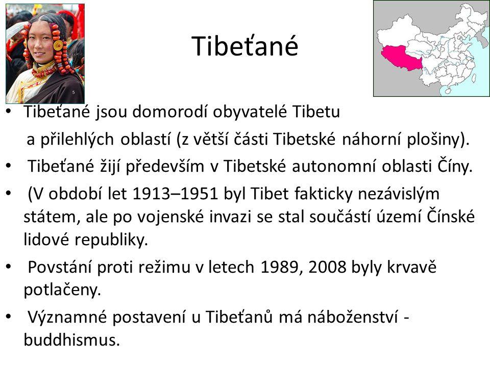 Tibeťané Tibeťané jsou domorodí obyvatelé Tibetu a přilehlých oblastí (z větší části Tibetské náhorní plošiny).