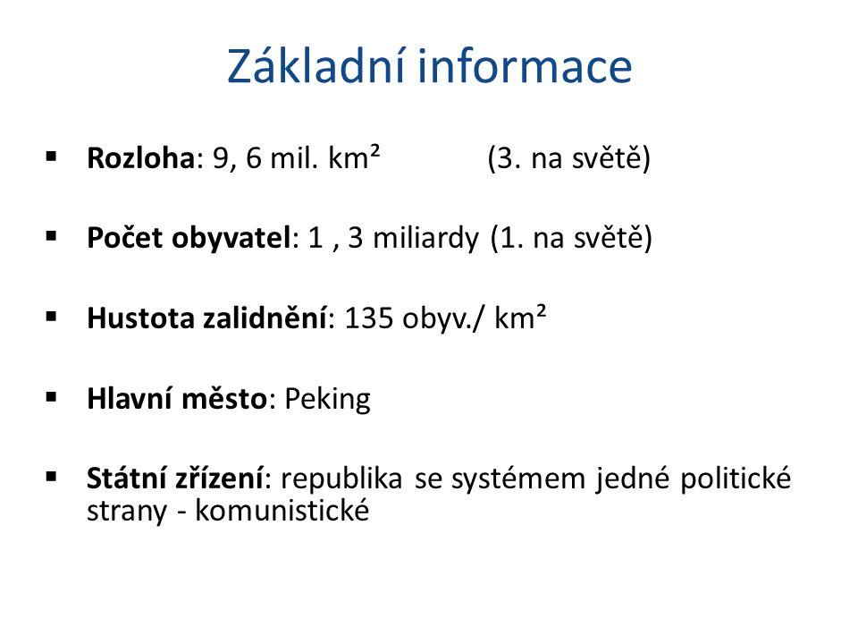 Základní informace  Rozloha: 9, 6 mil. km² (3. na světě)  Počet obyvatel: 1, 3 miliardy (1.