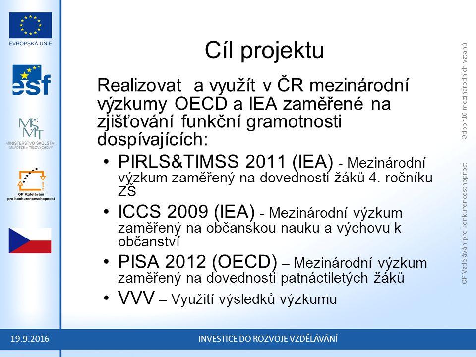 OP Vzdělávání pro konkurenceschopnost Odbor 10 mezinárodních vztahů INVESTICE DO ROZVOJE VZDĚLÁVÁNÍ Cíl projektu Realizovat a využít v ČR mezinárodní výzkumy OECD a IEA zaměřené na zjišťování funkční gramotnosti dospívajících: PIRLS&TIMSS 2011 (IEA) - Mezinárodní výzkum zaměřený na dovednosti žáků 4.