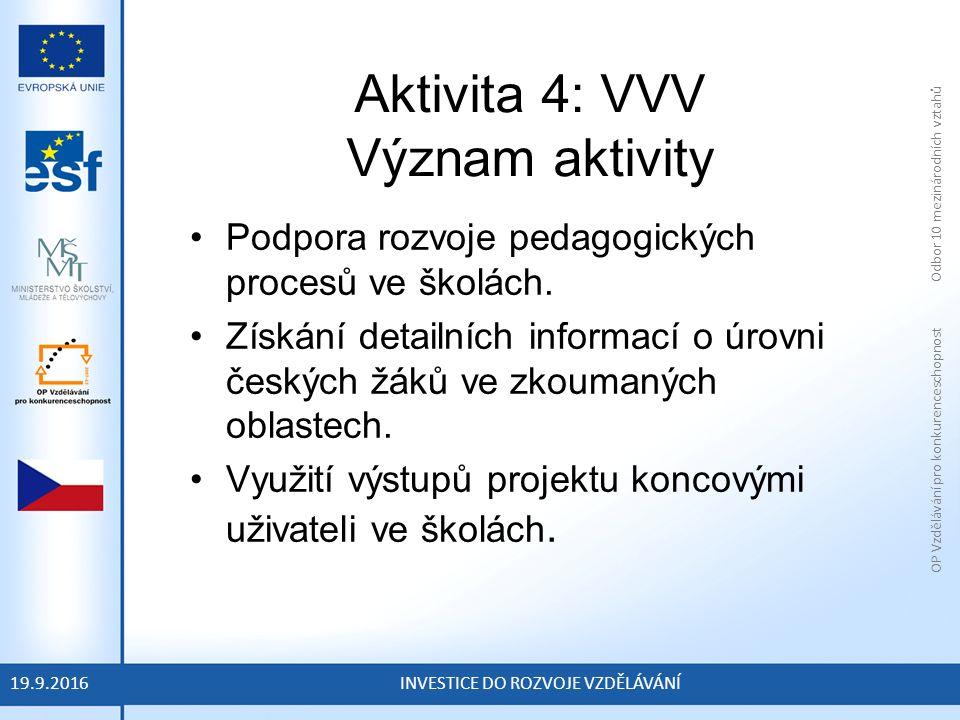 OP Vzdělávání pro konkurenceschopnost Odbor 10 mezinárodních vztahů INVESTICE DO ROZVOJE VZDĚLÁVÁNÍ Aktivita 4: VVV Význam aktivity Podpora rozvoje pedagogických procesů ve školách.