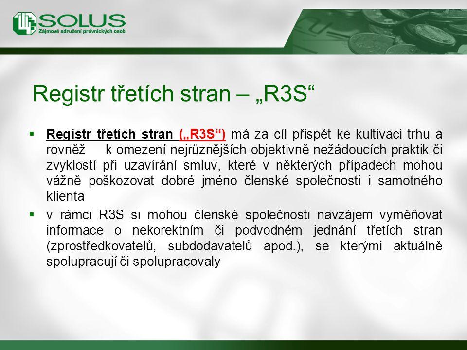 """ Registr třetích stran (""""R3S"""") má za cíl přispět ke kultivaci trhu a rovněž k omezení nejrůznějších objektivně nežádoucích praktik či zvyklostí při u"""