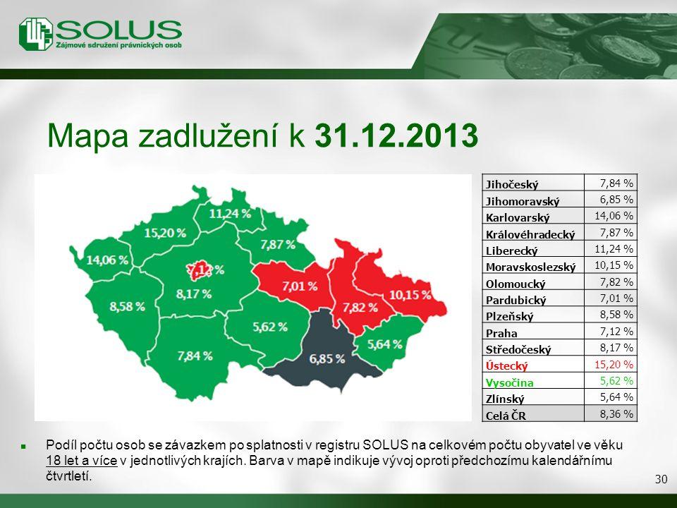 Mapa zadlužení k 31.12.2013 Podíl počtu osob se závazkem po splatnosti v registru SOLUS na celkovém počtu obyvatel ve věku 18 let a více v jednotlivých krajích.