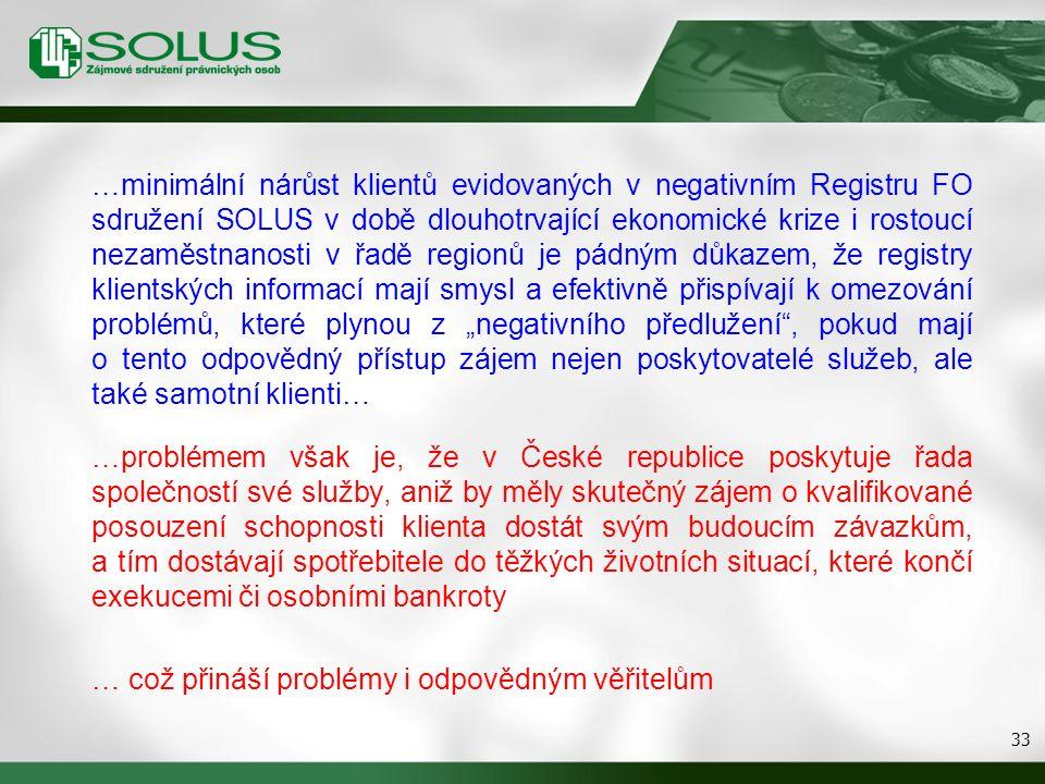 """33 …minimální nárůst klientů evidovaných v negativním Registru FO sdružení SOLUS v době dlouhotrvající ekonomické krize i rostoucí nezaměstnanosti v řadě regionů je pádným důkazem, že registry klientských informací mají smysl a efektivně přispívají k omezování problémů, které plynou z """"negativního předlužení , pokud mají o tento odpovědný přístup zájem nejen poskytovatelé služeb, ale také samotní klienti… …problémem však je, že v České republice poskytuje řada společností své služby, aniž by měly skutečný zájem o kvalifikované posouzení schopnosti klienta dostát svým budoucím závazkům, a tím dostávají spotřebitele do těžkých životních situací, které končí exekucemi či osobními bankroty … což přináší problémy i odpovědným věřitelům"""