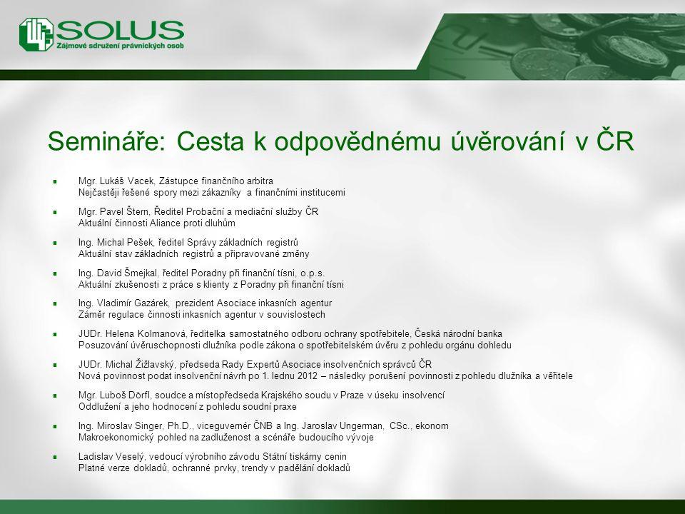 Semináře: Cesta k odpovědnému úvěrování v ČR Mgr. Lukáš Vacek, Zástupce finančního arbitra Nejčastěji řešené spory mezi zákazníky a finančními institu
