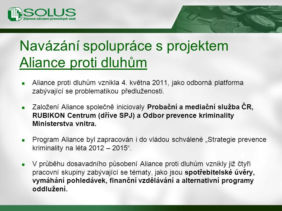 Navázání spolupráce s projektem Aliance proti dluhům Aliance proti dluhům vznikla 4.