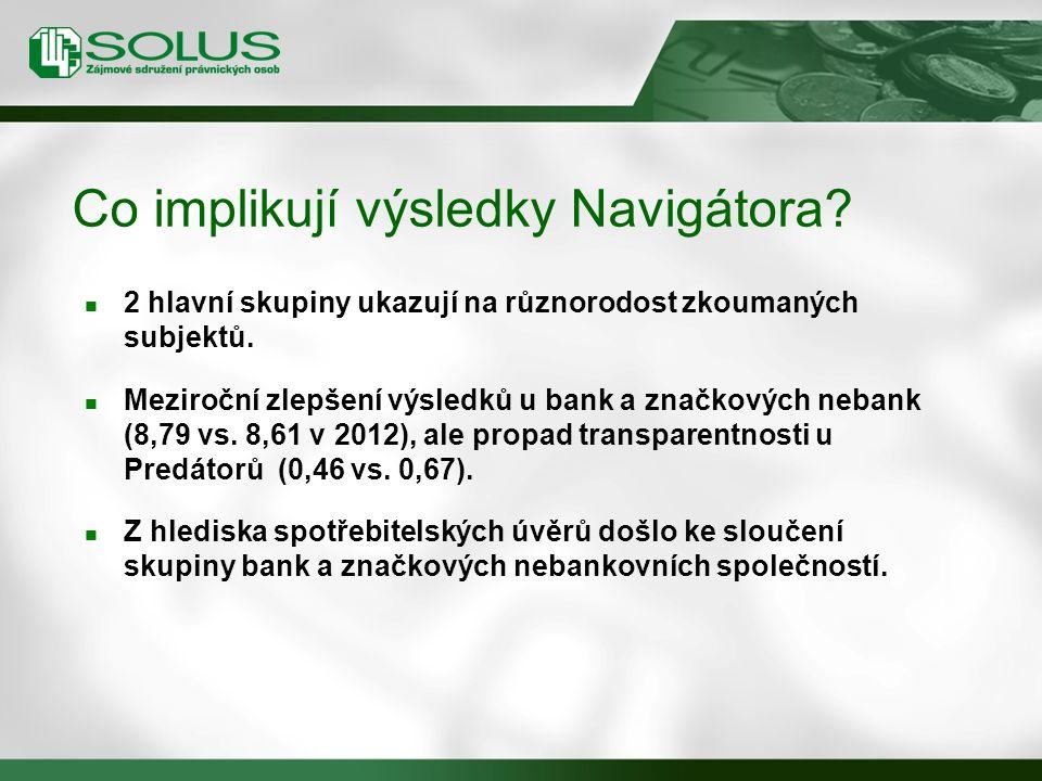 Co implikují výsledky Navigátora. 2 hlavní skupiny ukazují na různorodost zkoumaných subjektů.