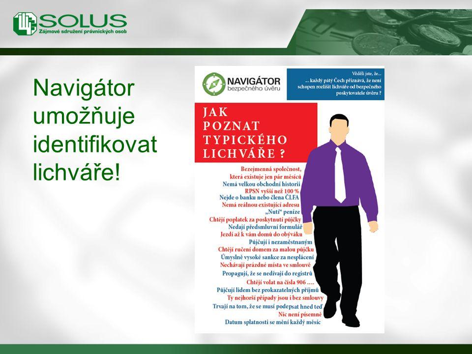 Navigátor umožňuje identifikovat lichváře!