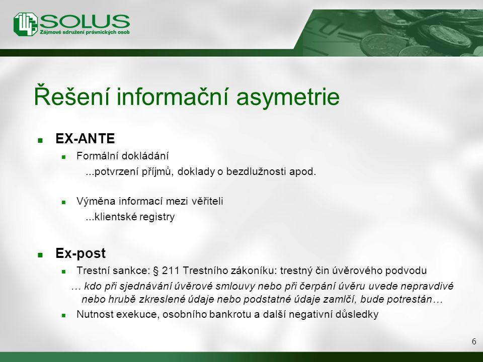 Řešení informační asymetrie EX-ANTE Formální dokládání...potvrzení příjmů, doklady o bezdlužnosti apod. Výměna informací mezi věřiteli...klientské reg
