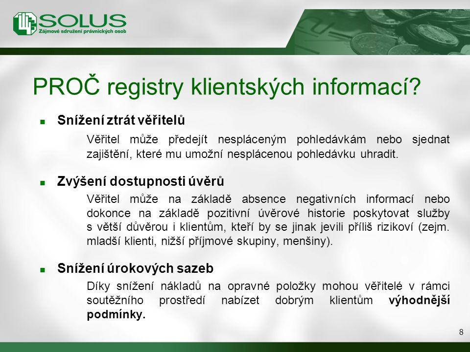 PROČ registry klientských informací? Snížení ztrát věřitelů Věřitel může předejít nespláceným pohledávkám nebo sjednat zajištění, které mu umožní nesp