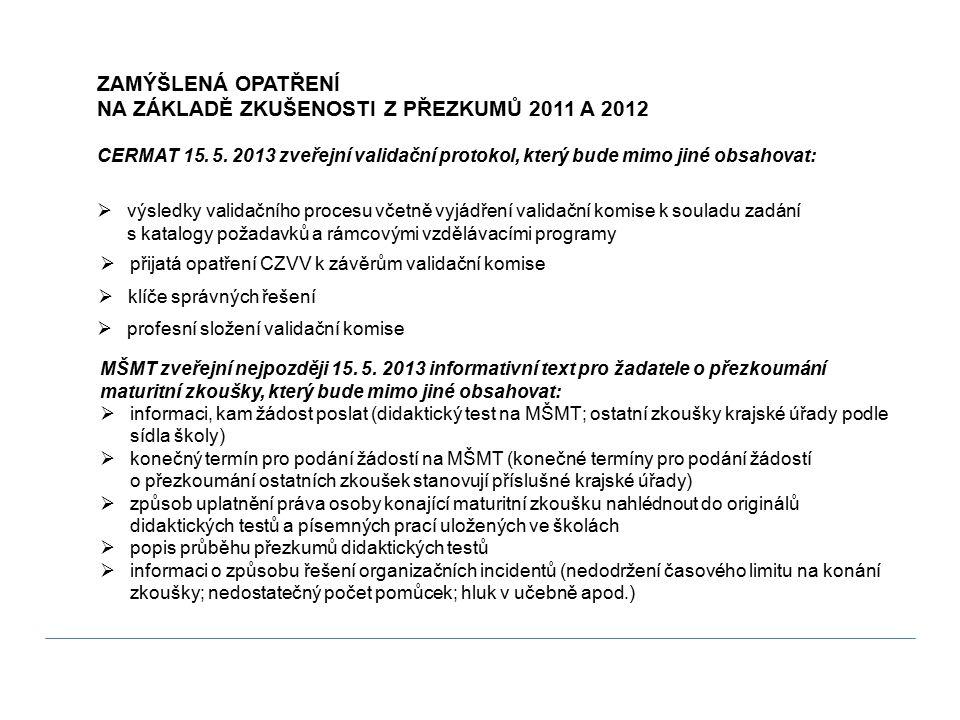 ZAMÝŠLENÁ OPATŘENÍ NA ZÁKLADĚ ZKUŠENOSTI Z PŘEZKUMŮ 2011 A 2012 CERMAT 15. 5. 2013 zveřejní validační protokol, který bude mimo jiné obsahovat: MŠMT z