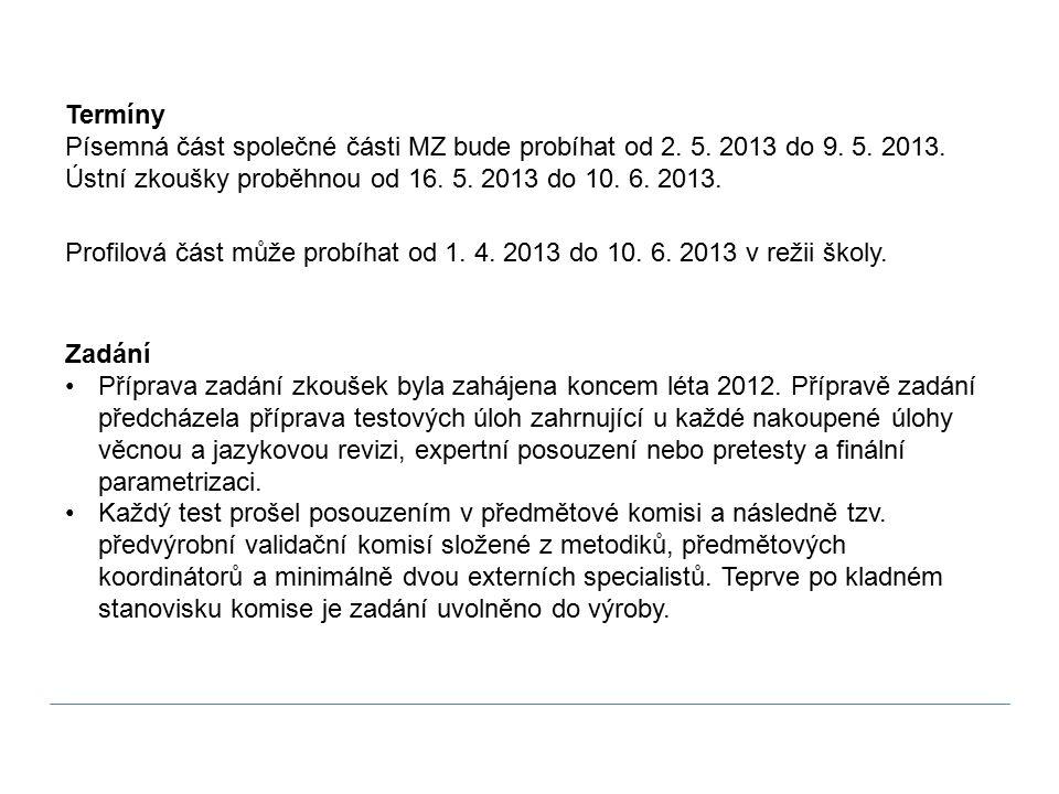 Termíny Písemná část společné části MZ bude probíhat od 2.