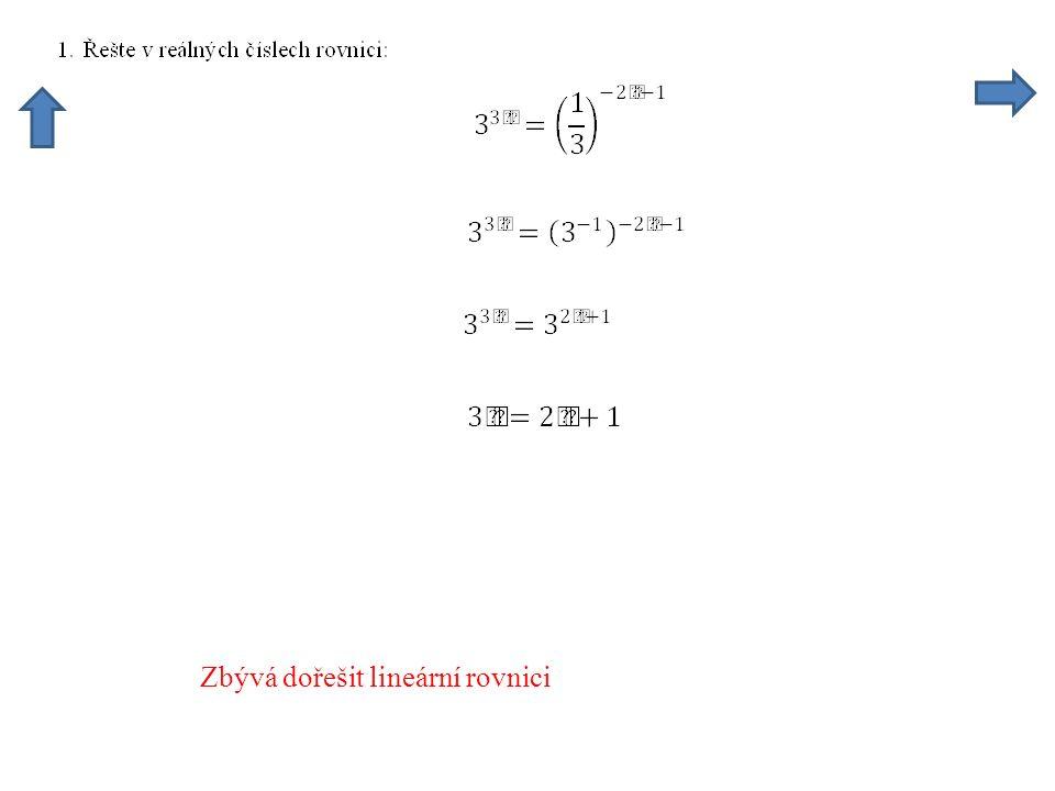 Zbývá dořešit lineární rovnici