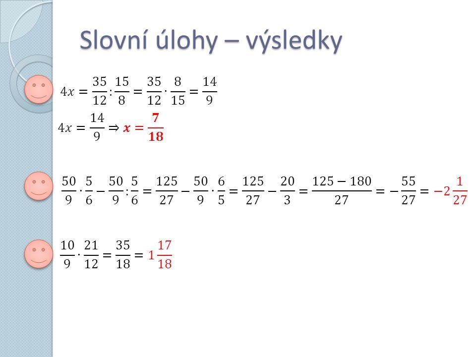 Slovní úlohy – výsledky