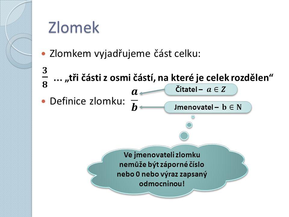 Zlomek Zlomkem vyjadřujeme část celku: Definice zlomku: Ve jmenovateli zlomku nemůže být záporné číslo nebo 0 nebo výraz zapsaný odmocninou!