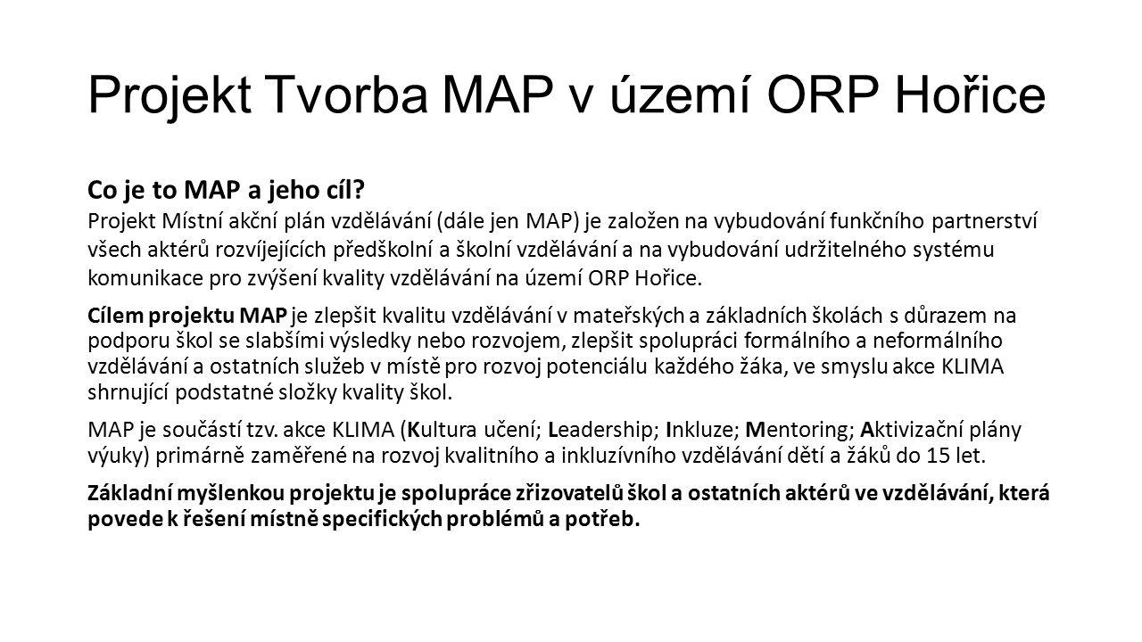 Projekt Tvorba MAP v území ORP Hořice Realizátor projektu: Místní akční skupina Podchlumí z.