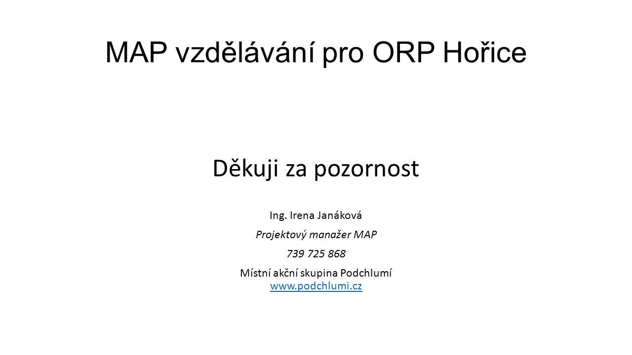 MAP vzdělávání pro ORP Hořice Děkuji za pozornost Ing.