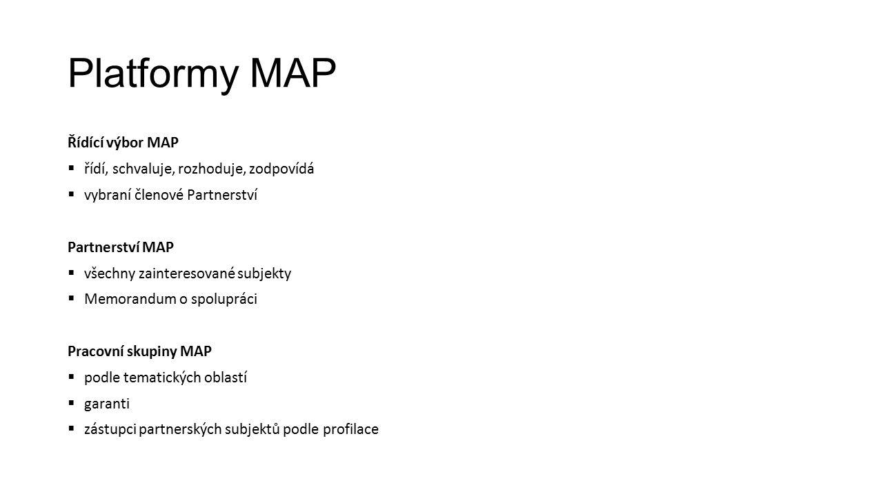 Platformy MAP Řídící výbor MAP  řídí, schvaluje, rozhoduje, zodpovídá  vybraní členové Partnerství Partnerství MAP  všechny zainteresované subjekty  Memorandum o spolupráci Pracovní skupiny MAP  podle tematických oblastí  garanti  zástupci partnerských subjektů podle profilace