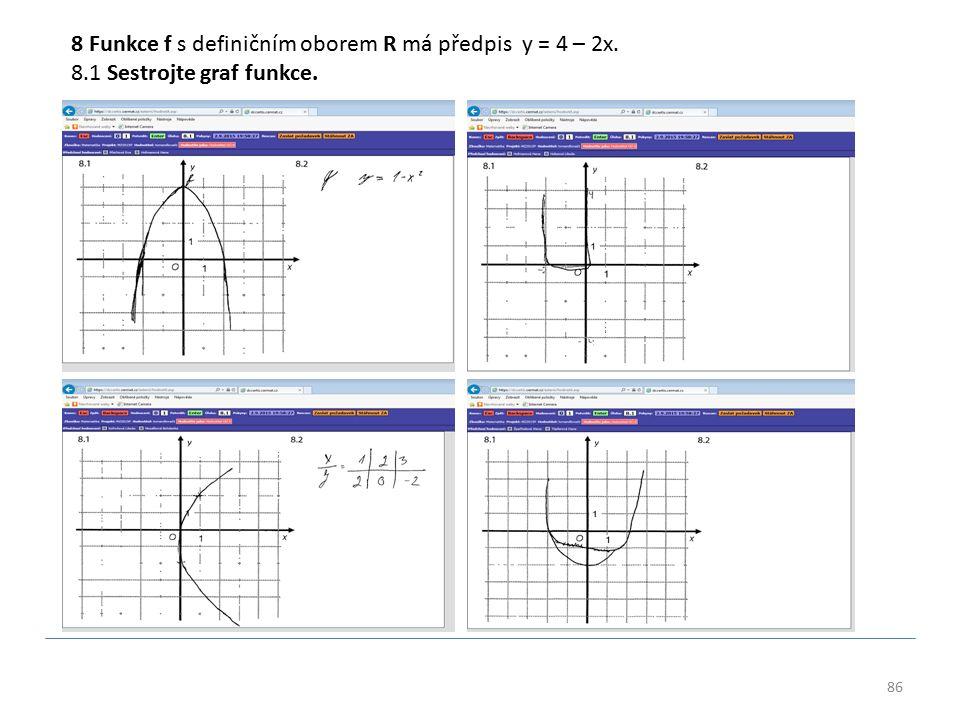 86 8 Funkce f s definičním oborem R má předpis y = 4 – 2x. 8.1 Sestrojte graf funkce.