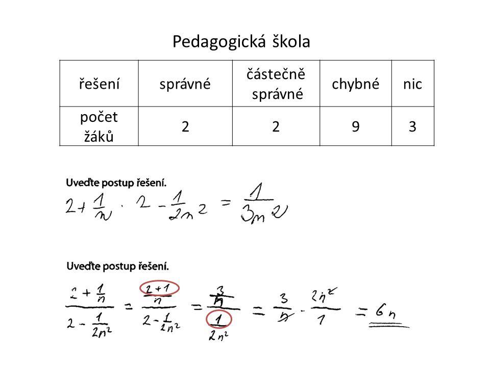 Pedagogická škola řešenísprávné částečně správné chybnénic počet žáků 2293