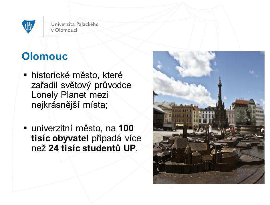 Olomouc  historické město, které zařadil světový průvodce Lonely Planet mezi nejkrásnější místa;  univerzitní město, na 100 tisíc obyvatel připadá více než 24 tisíc studentů UP.