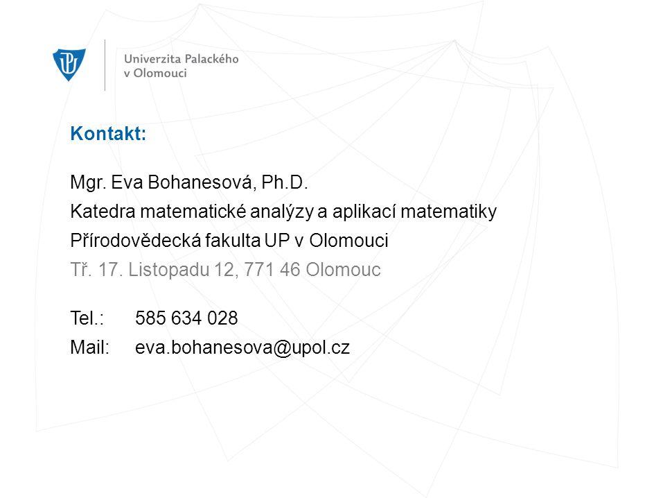 Kontakt: Mgr. Eva Bohanesová, Ph.D.