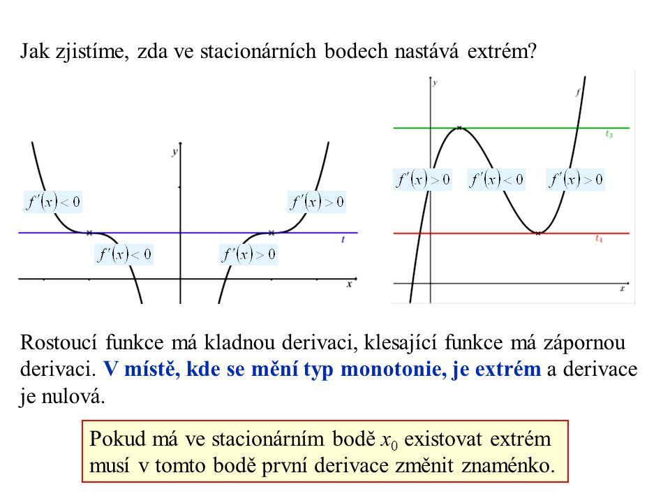 Pokud má ve stacionárním bodě x 0 existovat extrém musí v tomto bodě první derivace změnit znaménko.