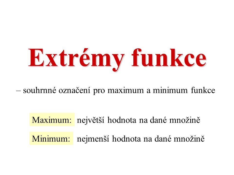 – souhrnné označení pro maximum a minimum funkce Maximum:největší hodnota na dané množině Minimum:nejmenší hodnota na dané množině Extrémy funkce