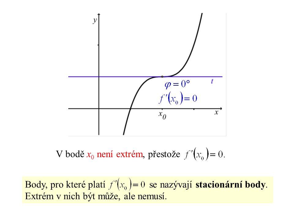 V bodě x 0 není extrém, přestože Body, pro které platí se nazývají stacionární body.