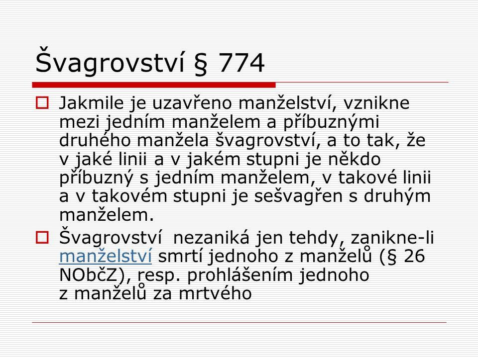Švagrovství § 774  Jakmile je uzavřeno manželství, vznikne mezi jedním manželem a příbuznými druhého manžela švagrovství, a to tak, že v jaké linii a v jakém stupni je někdo příbuzný s jedním manželem, v takové linii a v takovém stupni je sešvagřen s druhým manželem.