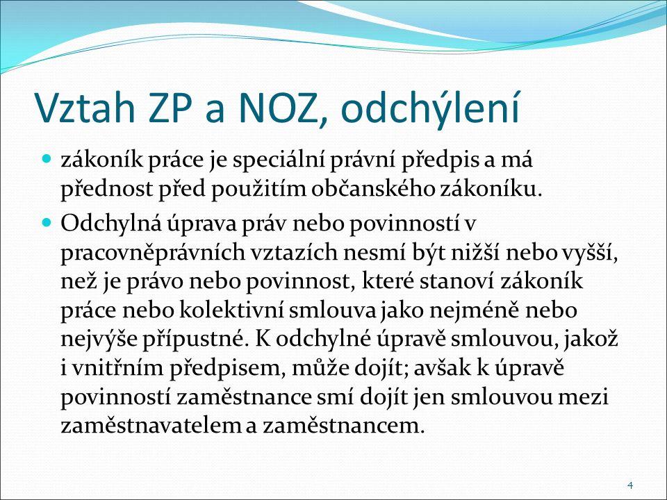 Vztah ZP a NOZ, odchýlení zákoník práce je speciální právní předpis a má přednost před použitím občanského zákoníku.