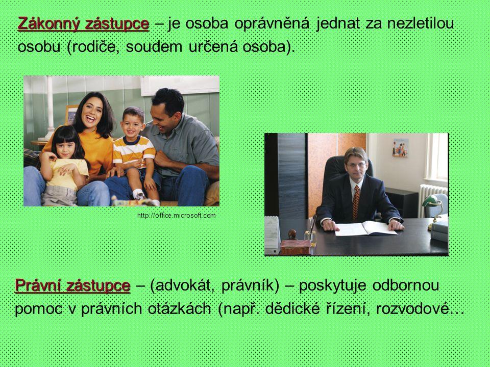 Zákonný zástupce Zákonný zástupce – je osoba oprávněná jednat za nezletilou osobu (rodiče, soudem určená osoba). Právní zástupce Právní zástupce – (ad