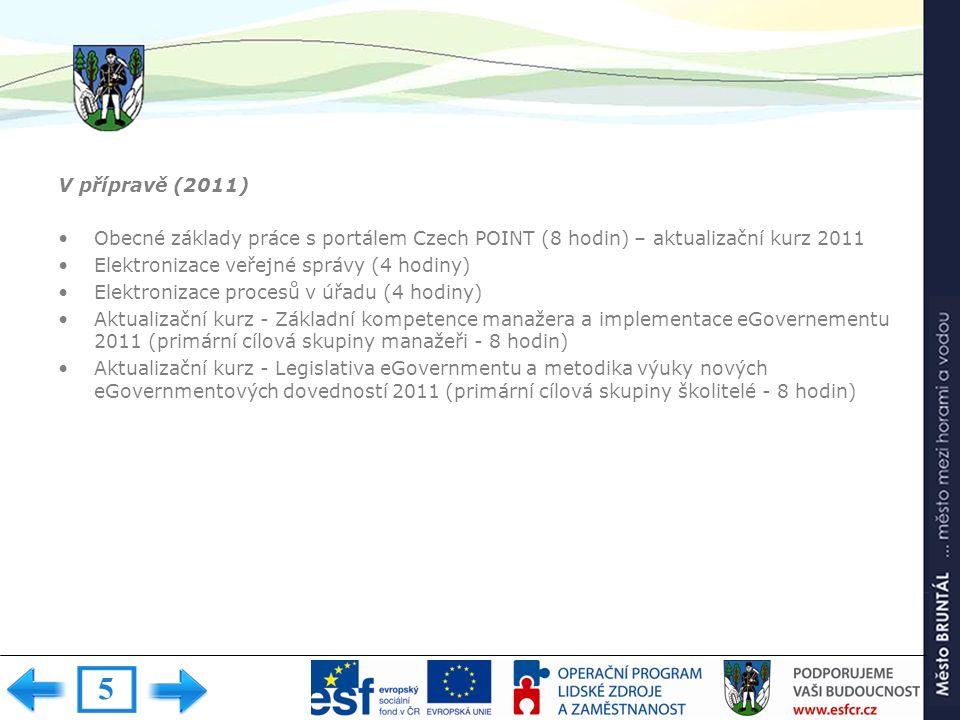 V přípravě (2011) Obecné základy práce s portálem Czech POINT (8 hodin) – aktualizační kurz 2011 Elektronizace veřejné správy (4 hodiny) Elektronizace