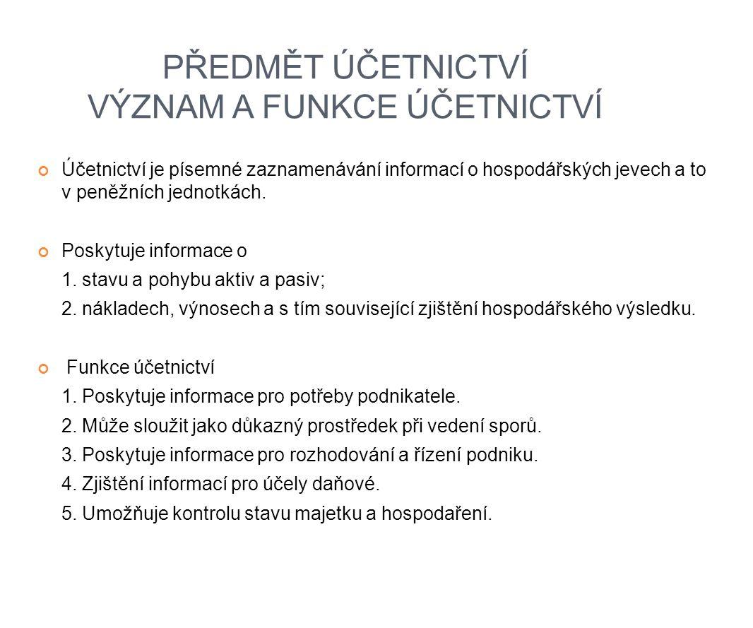 P RÁVNÍ NORMY Zákon o účetnictví Vyhláška Ministerstva financí - podnikatelských subjektů se týká vyhláška č.