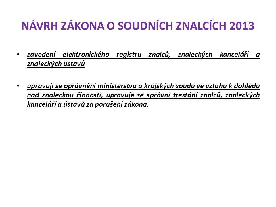 NÁVRH ZÁKONA O SOUDNÍCH ZNALCÍCH 2013 zavedení elektronického registru znalců, znaleckých kanceláří a znaleckých ústavů upravují se oprávnění minister