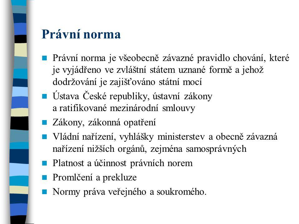 Právní norma Právní norma je všeobecně závazné pravidlo chování, které je vyjádřeno ve zvláštní státem uznané formě a jehož dodržování je zajišťováno státní mocí Ústava České republiky, ústavní zákony a ratifikované mezinárodní smlouvy Zákony, zákonná opatření Vládní nařízení, vyhlášky ministerstev a obecně závazná nařízení nižších orgánů, zejména samosprávných Platnost a účinnost právních norem Promlčení a prekluze Normy práva veřejného a soukromého.