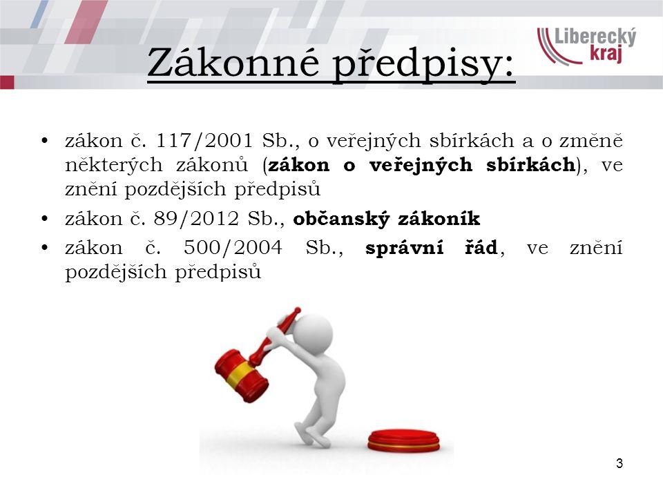 Zákonné předpisy: zákon č. 117/2001 Sb., o veřejných sbírkách a o změně některých zákonů ( zákon o veřejných sbírkách ), ve znění pozdějších předpisů
