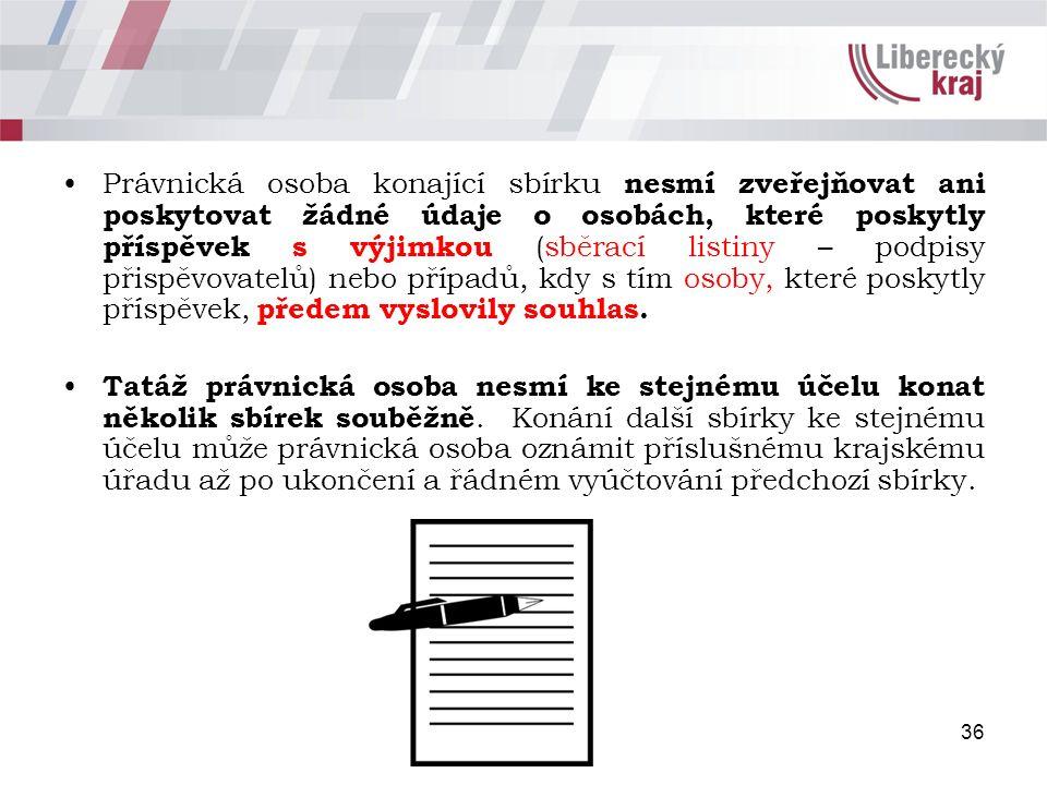 Právnická osoba konající sbírku nesmí zveřejňovat ani poskytovat žádné údaje o osobách, které poskytly příspěvek s výjimkou (sběrací listiny – podpisy přispěvovatelů) nebo případů, kdy s tím osoby, které poskytly příspěvek, předem vyslovily souhlas.