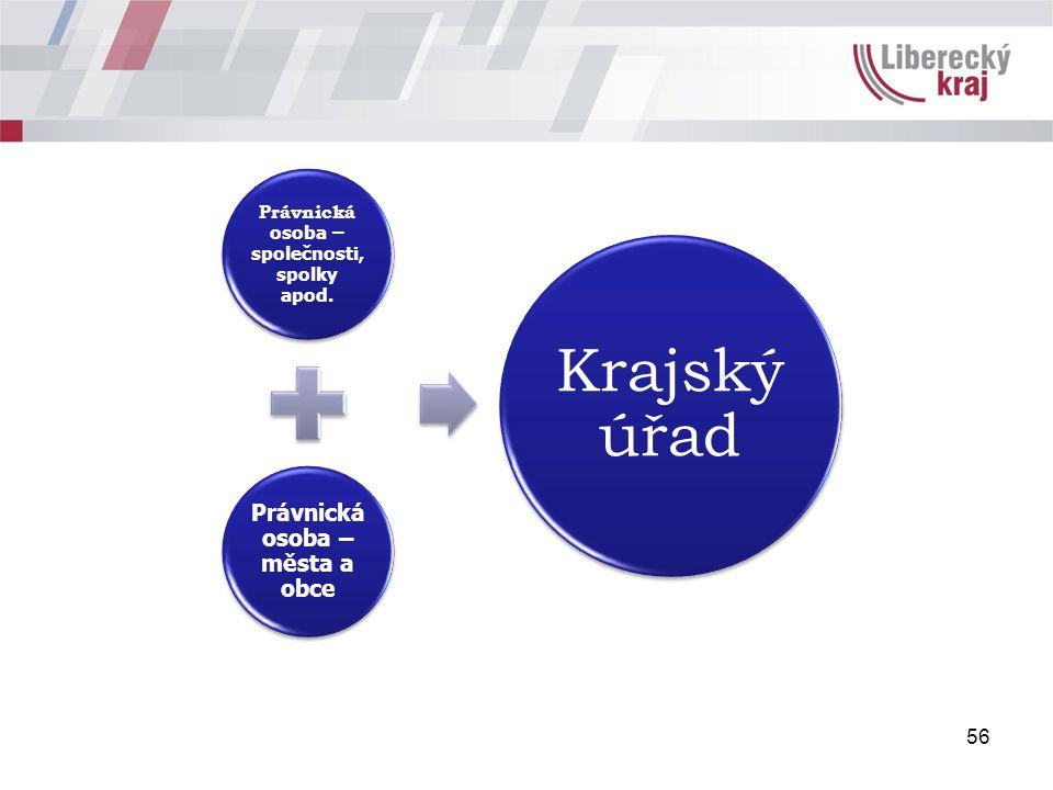 56 Právnická osoba – společnosti, spolky apod. Právnická osoba – města a obce Krajský úřad