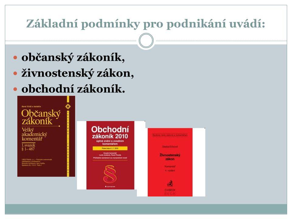 Základní podmínky pro podnikání uvádí: občanský zákoník, živnostenský zákon, obchodní zákoník.