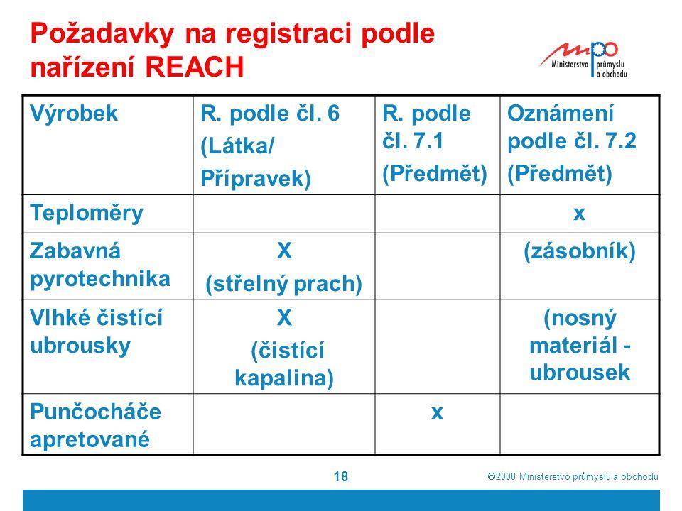  2008  Ministerstvo průmyslu a obchodu 18 Požadavky na registraci podle nařízení REACH VýrobekR.