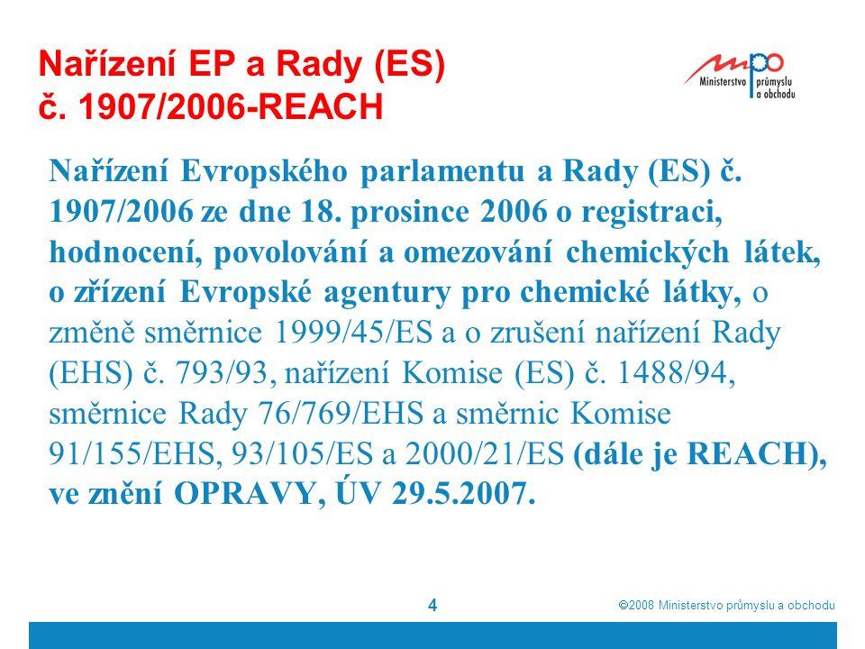  2008  Ministerstvo průmyslu a obchodu 5 Nařízení REACH Vstoupilo v platnost dne 1.6.2007 ve všech státech Evropské unie Na národní úrovni se upravuje pouze část kontrolní a sankční - novelou zákona č.