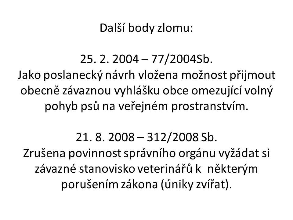 Další body zlomu: 25. 2. 2004 – 77/2004Sb.