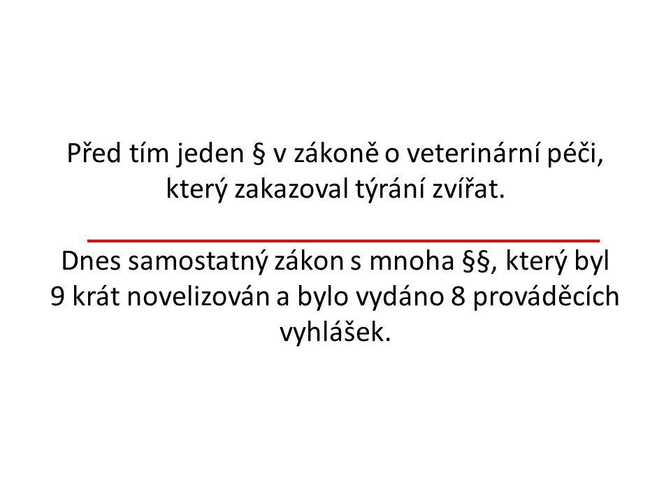 Před tím jeden § v zákoně o veterinární péči, který zakazoval týrání zvířat.